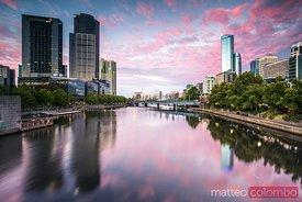 Melbourne, Victoria, Australia. Yarra river and city at sunrise
