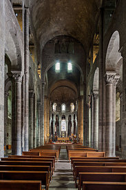 Nave of Orcival romanesque basilica