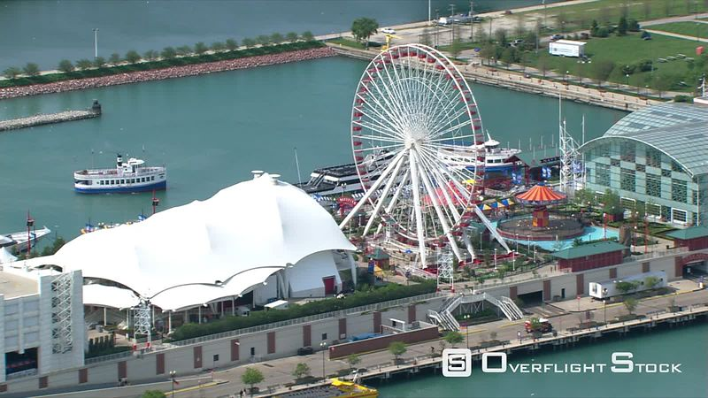 Orbiting Navy Pier amusement park in Chicago.