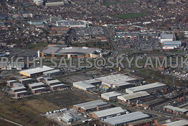 Widnes aerial photograph looking across Widnes Trading Estate and B & Q Dennis Road towards Ashley Retail Park and the town centre