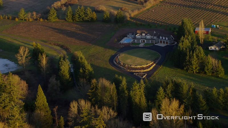 Aerial view of country home and farmlands in Oregon