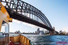 Harbour bridge and cuty of Sydney from ferry boat, Australia