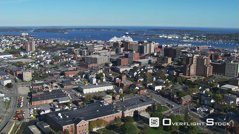 Flying seaward over Portland, Maine