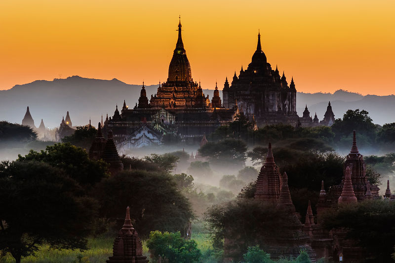 Ancient Pagodas and Stupas at Bagan at Dusk