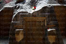 Detail of chakana / Andean cross carved into bluestone altar in cave at Ñaupa Iglesia shrine / huaca, Huaracondo Valley, Cusco Region, Peru