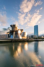Guggenheim museum and river at sunset, Bilbao, Spain
