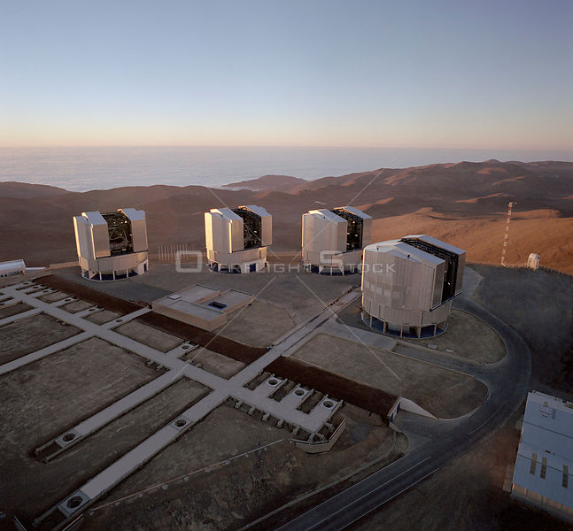 CHILE Mount Paranal -- 24 May 2000 -- A view of the Paranal platform with the four 8.2m VLT Unit Telescopes