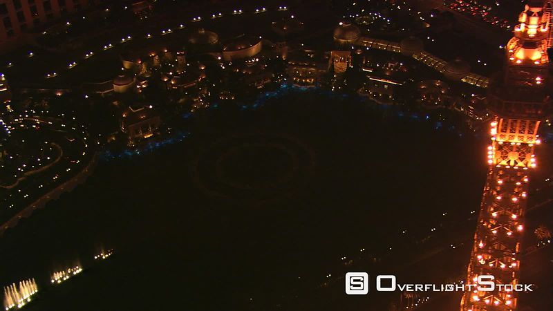 Flying over Paris Las Vegas to view the Bellagio's water show at night.
