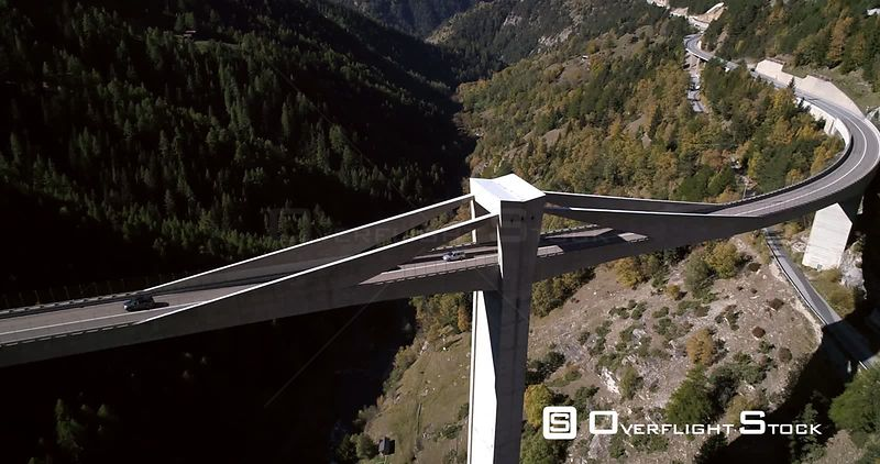 Car on a bridge  Simplon Pass, in Wallis, of the Alps in Switzerland