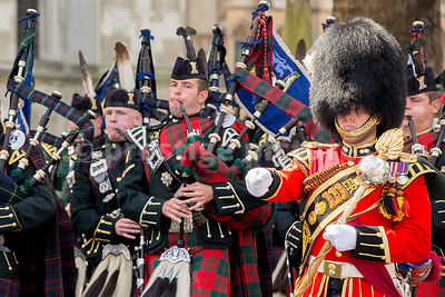 The Pipes and Drums of 1st,2nd and 4th Battalions the Royal Regiment of Scotland Leading the VE70 Veteran's Parade