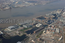 Liverpool high level view of The Baltic Triangle development area of Liverpool City Centre and Albert Dock developments