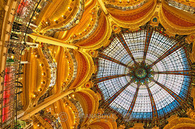 Dome and balconies of Galeries Lafayette; Paris, France