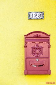 Letterbox on yellow wall, Burano, Venice