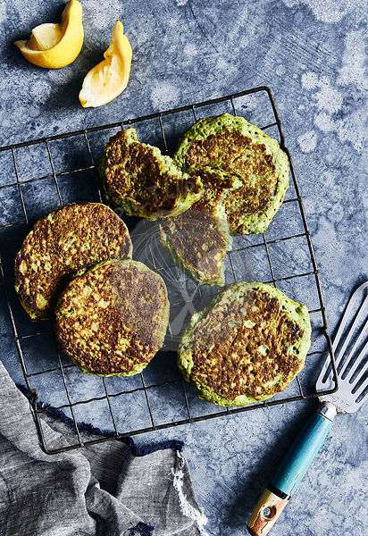 healthy eating, glutin free green pea pancakes on cooling rack