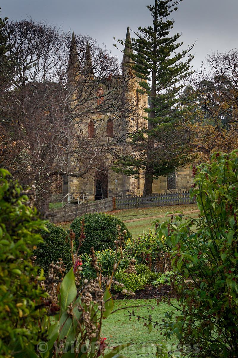 View of the church and Government gardens, Port Arthur, Tasmania, Australia; Portrait