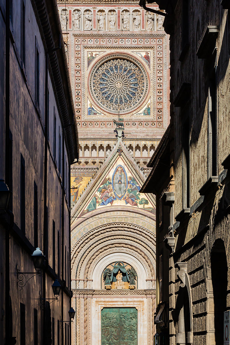 Detail of the Duomo Framed between Buildings