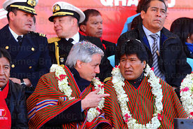 Bolivian president Evo Morales (right) and vice president Alvaro Garcia Linera (centre) during the cable car Red Line  inauguration ceremony , La Paz, Bolivia
