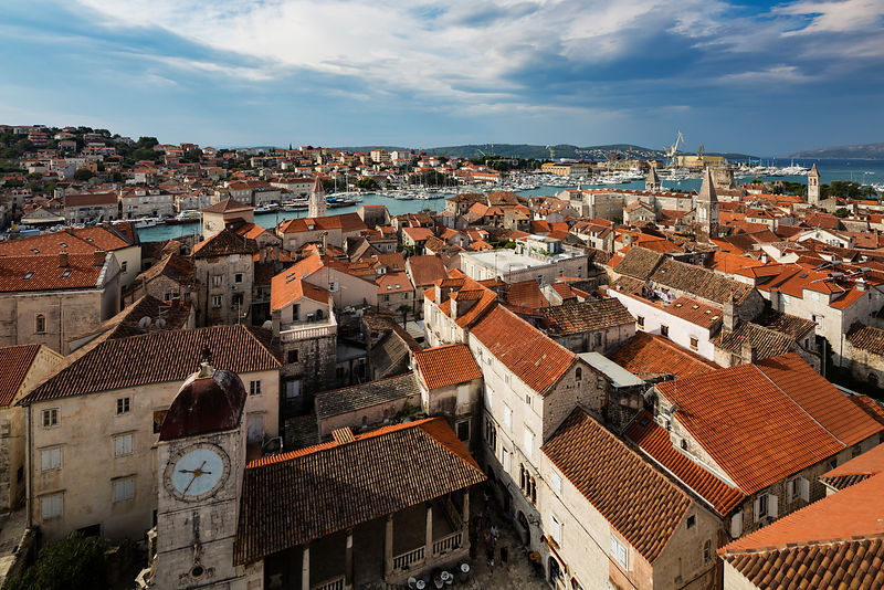 Elevated View of the Town of Trogir from the Bell Tower of the Cathedral