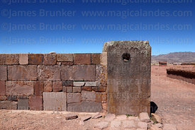 Hole in stone block in wall of Kalasasaya Temple that acts as a loudspeaker, Tiwanaku, Bolivia
