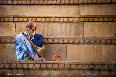 Old man on steps in Jaisalmer.