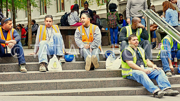 Construction workers in Manhattan