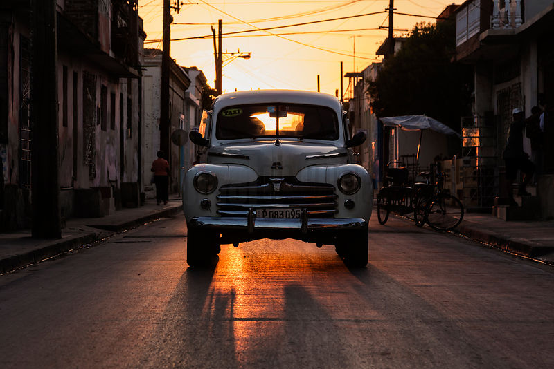 Vintage American Car at Sunset