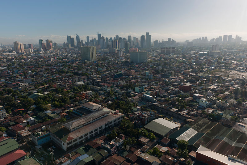 Aerial view of the densely populated city of Manila, Philippines, April 2010