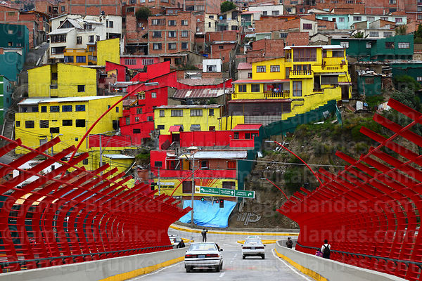 View across San Antonio de Padua Bridge from Miraflores to San Antonio Bajo, La Paz, Bolivia