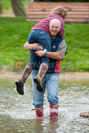 Emily King is given a helping hand during her course walk at Burghley Horse Trials, 1st September 2012.