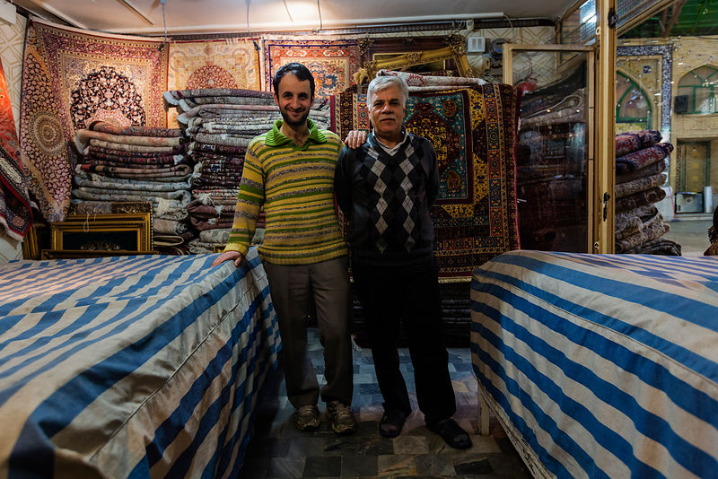 Portrait of a Carpet Dealer and his Son in their Shop