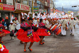 Female sicuris dancers at Virgen de la Candelaria festival, Puno, Peru