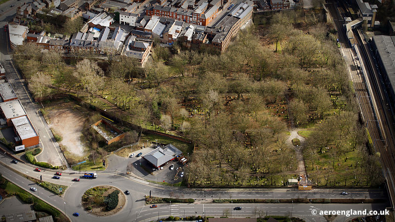 aerial photograph of Key Hill Cemetery Birmingham, West Midlands England UK