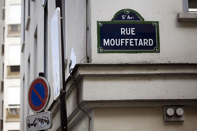 France - Paris - A street sign for Rue Mouffetard.