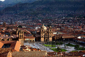 View over Plaza de Armas and Compañia de Jesus church, Cusco, Peru