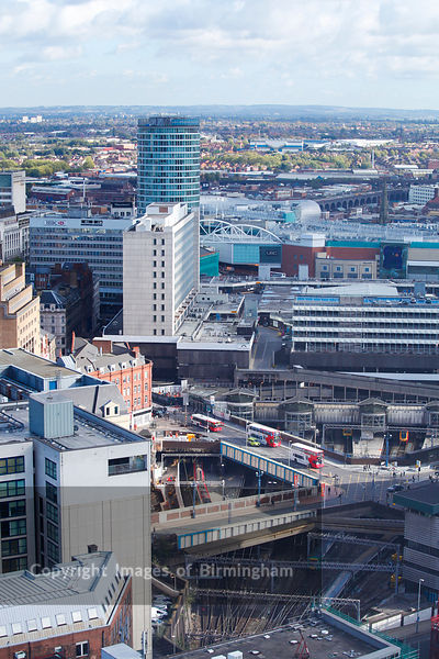 Aerial view of the city centre, Birmingham, West Midlands, England, UK