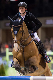 Bordeaux, France, 3.2.2018, Sport, Reitsport, Jumping International de Bordeaux - LONGINES FEI WORLD CUP™ JUMPING. Bild zeigt Julien GONIN (FRA) riding Soleil de Cornu CH (5*)...3/02/18, Bordeaux, France, Sport, Equestrian sport Jumping International de Bordeaux - LONGINES FEI WORLD CUP™ JUMPING. Image shows Julien GONIN (FRA) riding Soleil de Cornu CH (5*).