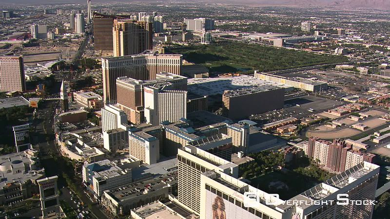 Flight past casinos toward the north end of The Strip in Las Vegas.