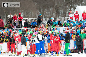 At the finish of the parallel giant slalom.