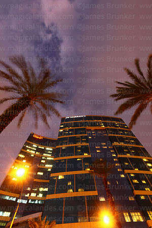 JW Marriott Hotel and palm tree at sunset, Larcomar, Miraflores, Lima, Peru