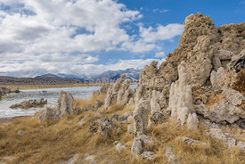 Mounds of the natural formation of tufa (calcium carbonate) at Mono Lake in California, USA.