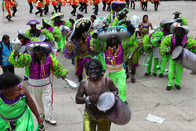 Rey Morenos and African slave Negritos / Tundiqui dancers, Oruro Carnival, Bolivia