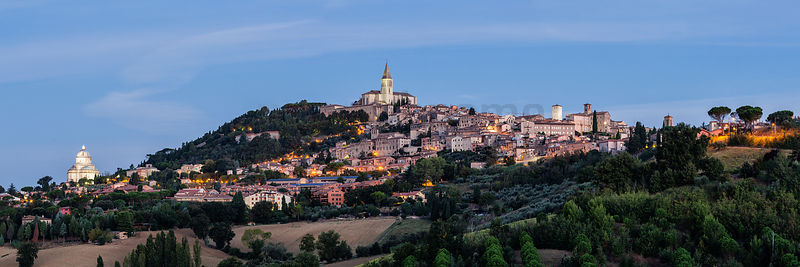 Skyline of the Hill Town of Todi at Dawn