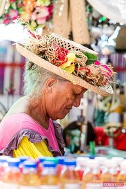 Old polynesian woman at Papeete market, Tahiti