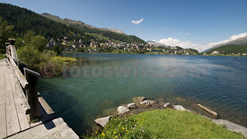 Photo Saint St. Moritz Summer Lake View blue Sky Mountains Foto