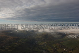 Winter aerial photograph of the weather conditions over the Pennines