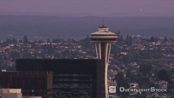 Seattle, Washington Aerial view of Seattle Space Needle at sunrise.  Shot with Cineflex and RED EpicW Helium.