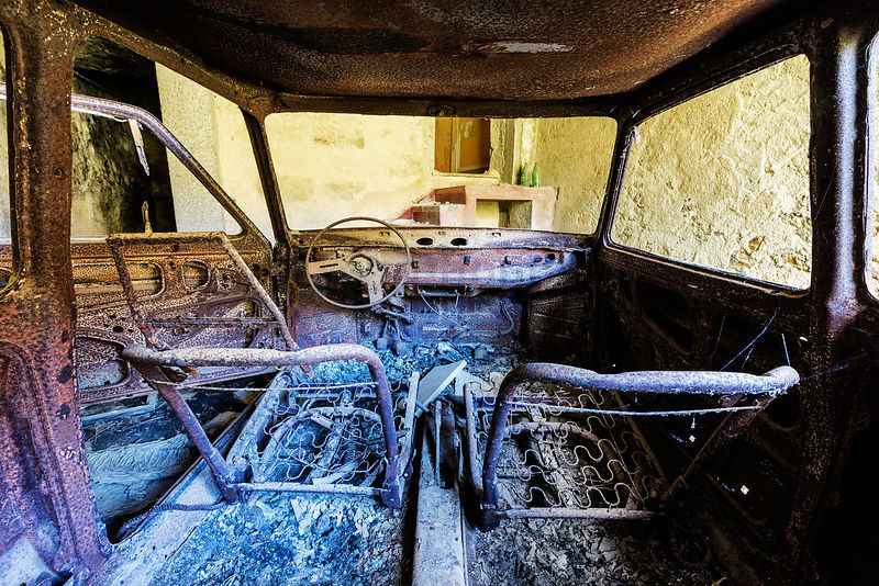 Interior of Wrecked Car