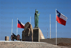 Monument to Unknown Soldier and Chilean flags on El Morro headland , Arica , Region XV , Chile
