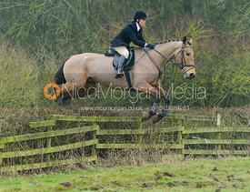 Anna Hanson jumping a hedge at Town Park Farm