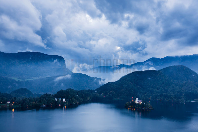 Elevated View of Lake Bled from Bled Castle